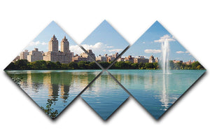 skyline with skyscrapers and trees lake reflection 4 Square Multi Panel Canvas  - Canvas Art Rocks - 1