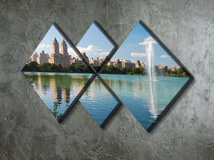 skyline with skyscrapers and trees lake reflection 4 Square Multi Panel Canvas  - Canvas Art Rocks - 2