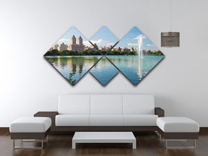 skyline with skyscrapers and trees lake reflection 4 Square Multi Panel Canvas  - Canvas Art Rocks - 3