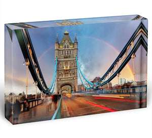slow shutter speed Tower Bridge Acrylic Block - Canvas Art Rocks - 1
