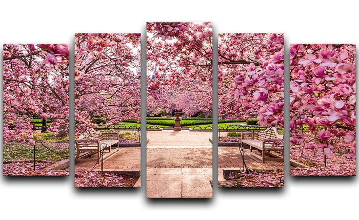 spring foliage near the National Mall 5 Split Panel Canvas