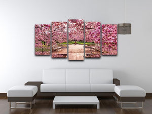 spring foliage near the National Mall 5 Split Panel Canvas  - Canvas Art Rocks - 3