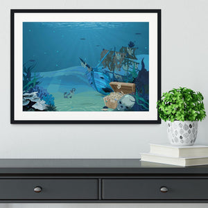 sunken sailboat on seabed background Framed Print - Canvas Art Rocks - 1