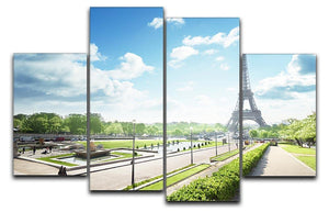 sunny morning and Eiffel Towe 4 Split Panel Canvas  - Canvas Art Rocks - 1