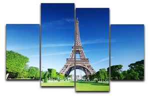 sunny morning and Eiffel Tower 4 Split Panel Canvas  - Canvas Art Rocks - 1