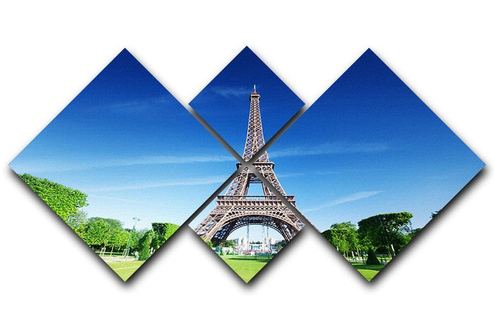 sunny morning and Eiffel Tower 4 Square Multi Panel Canvas