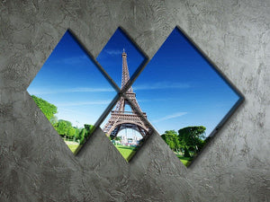 sunny morning and Eiffel Tower 4 Square Multi Panel Canvas  - Canvas Art Rocks - 2