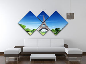 sunny morning and Eiffel Tower 4 Square Multi Panel Canvas  - Canvas Art Rocks - 3