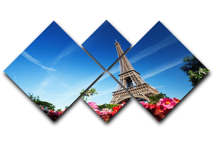 sunny morning flowers and Eiffel Tower 4 Square Multi Panel Canvas