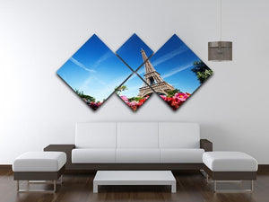 sunny morning flowers and Eiffel Tower 4 Square Multi Panel Canvas  - Canvas Art Rocks - 3