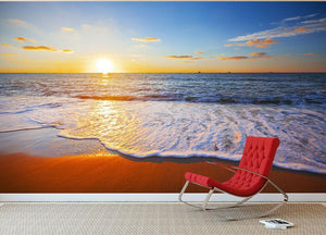 sunset and sea Wall Mural Wallpaper - Canvas Art Rocks - 2