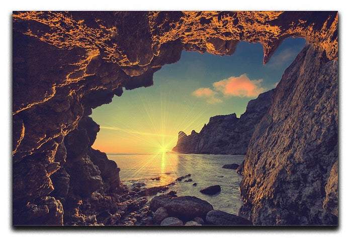 sunset from the mountain cave Canvas Print or Poster