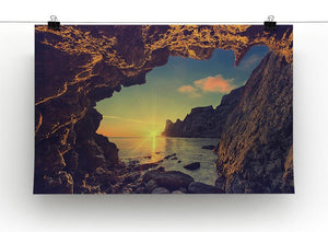 sunset from the mountain cave Canvas Print or Poster - Canvas Art Rocks - 2