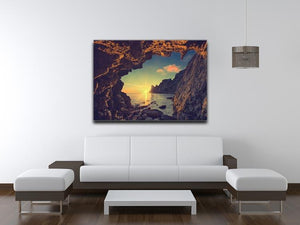 sunset from the mountain cave Canvas Print or Poster - Canvas Art Rocks - 4
