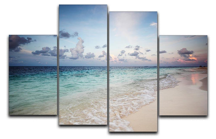 sunset on the sea beach 4 Split Panel Canvas