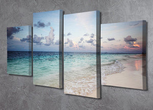 sunset on the sea beach 4 Split Panel Canvas - Canvas Art Rocks - 2