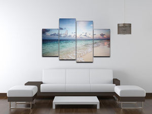 sunset on the sea beach 4 Split Panel Canvas - Canvas Art Rocks - 3