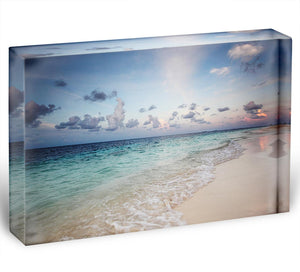 sunset on the sea beach Acrylic Block - Canvas Art Rocks - 1