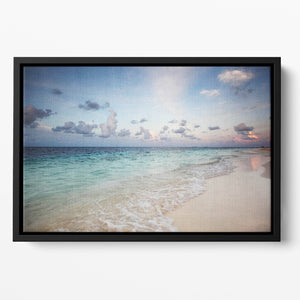 sunset on the sea beach Floating Framed Canvas