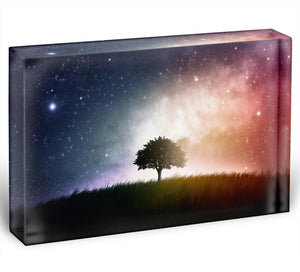 tree in a field with beautiful space background Acrylic Block - Canvas Art Rocks - 1