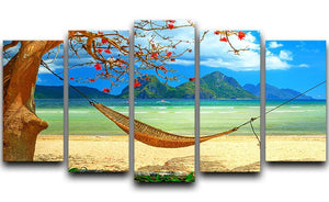 tropical beach scene with hammock 5 Split Panel Canvas - Canvas Art Rocks - 1