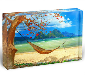 tropical beach scene with hammock Acrylic Block - Canvas Art Rocks - 1