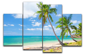 tropical beach with coconut palm 4 Split Panel Canvas - Canvas Art Rocks - 1
