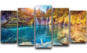 turquoise water and sunny beams 5 Split Panel Canvas  - Canvas Art Rocks - 1