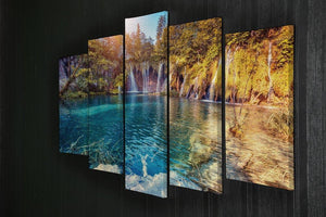 turquoise water and sunny beams 5 Split Panel Canvas  - Canvas Art Rocks - 2