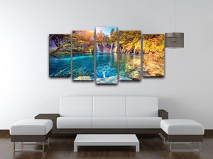 turquoise water and sunny beams 5 Split Panel Canvas  - Canvas Art Rocks - 3