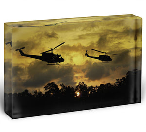 two helicopters flying over South Vietnam Acrylic Block - Canvas Art Rocks - 1