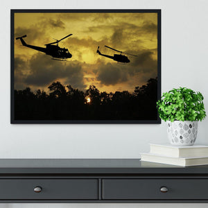 two helicopters flying over South Vietnam Framed Print - Canvas Art Rocks - 2