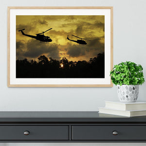 two helicopters flying over South Vietnam Framed Print - Canvas Art Rocks - 3