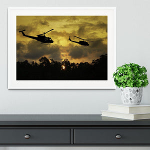 two helicopters flying over South Vietnam Framed Print - Canvas Art Rocks - 5