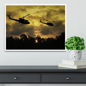 two helicopters flying over South Vietnam Framed Print - Canvas Art Rocks -6