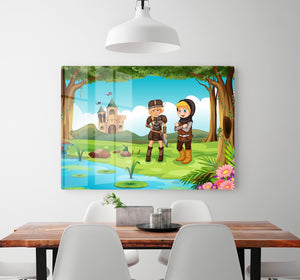 two worriors standing in forest HD Metal Print