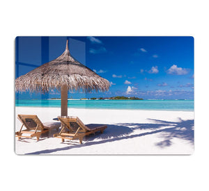 umbrella on a beach with shadow HD Metal Print - Canvas Art Rocks - 1