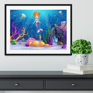 underwater world with a funny fish and a mermaid Framed Print - Canvas Art Rocks - 1