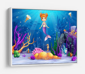 underwater world with a funny fish and a mermaid HD Metal Print