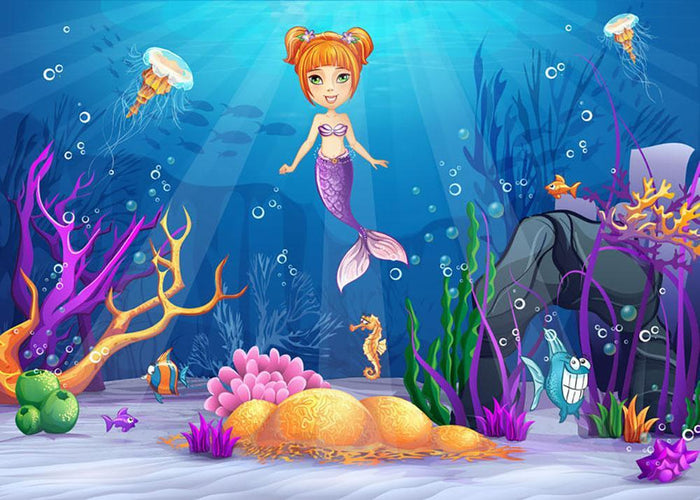 underwater world with a funny fish and a mermaid Wall Mural Wallpaper