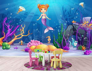 underwater world with a funny fish and a mermaid Wall Mural Wallpaper - Canvas Art Rocks - 2
