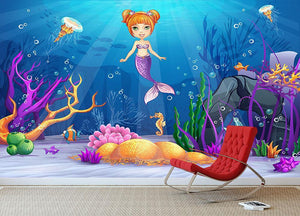 underwater world with a funny fish and a mermaid Wall Mural Wallpaper - Canvas Art Rocks - 3