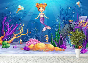 underwater world with a funny fish and a mermaid Wall Mural Wallpaper - Canvas Art Rocks - 4