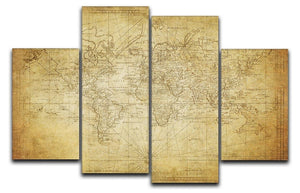 vintage map of the world 1778 4 Split Panel Canvas  - Canvas Art Rocks - 1