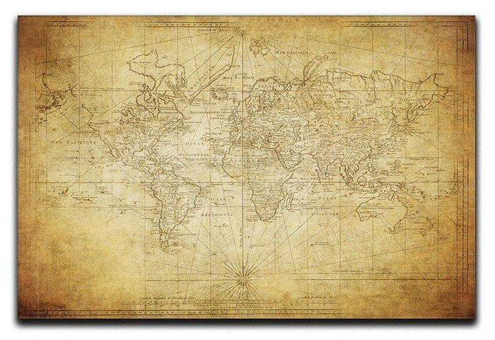 vintage map of the world 1778 Canvas Print or Poster