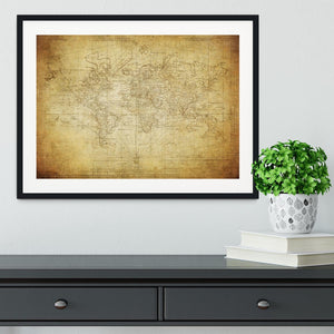 vintage map of the world 1778 Framed Print - Canvas Art Rocks - 1