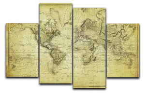 vintage map of the world 1831 4 Split Panel Canvas  - Canvas Art Rocks - 1
