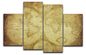 vintage map of the world 4 Split Panel Canvas  - Canvas Art Rocks - 1