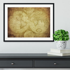vintage map of the world Framed Print - Canvas Art Rocks - 1