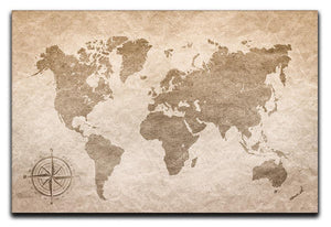 vintage paper with world map Canvas Print or Poster  - Canvas Art Rocks - 1
